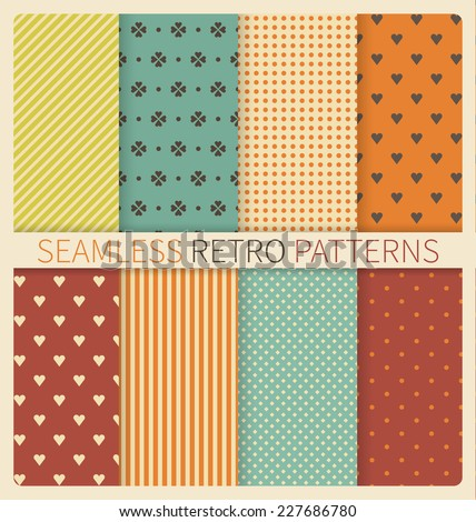 Set of retro geometric seamless patterns: polka dot, lines, squares, diagonal lines, hearts, flowers - stock vector