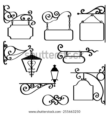 Set of retro graphic forged signboards and vintage street lanterns. Vector illustration. - stock vector