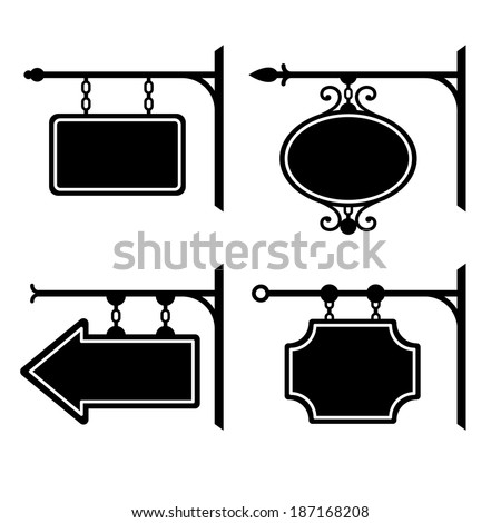 Set of retro graphic forged signboards. Vector - stock vector