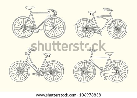 Set of retro hand drawn bicycles - stock vector