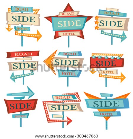 Set of retro hotel signs. Cartoon illustration - stock vector