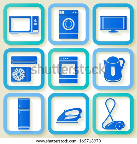 Set of 9 retro icons of domestic electric appliances. Eps10 - stock vector