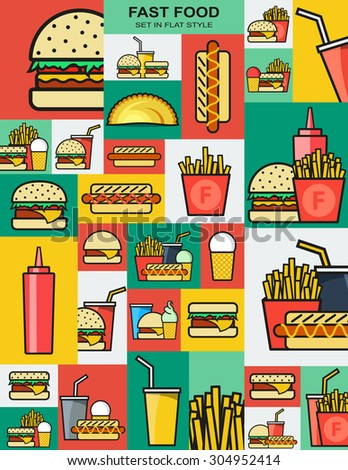 Set of retro icons with fast food burgers. Sandwiches and drinks. Fast food. Objects for design. Background of fast food. Hamburger and cheeseburger. French fries and a hot dog. Drink and fried food - stock vector