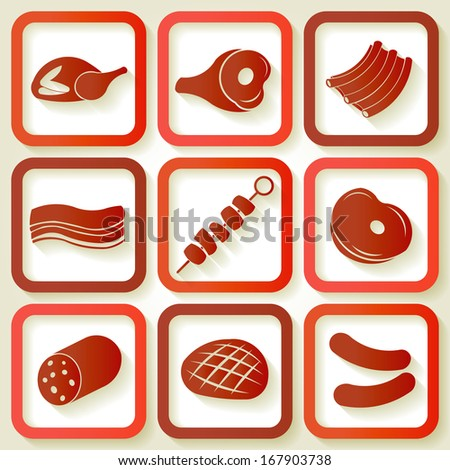 Set of 9 retro icons with meat pieces. Eps10