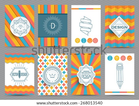 Set of Retro Insignias, Logotypes, brochures in vintage style. Vector design templates.  Set of . Business Signs, Logos, Identity Elements, Labels, Badges, Frames, backgrounds.  - stock vector