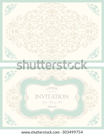 set of retro Invitations or wedding cards with damask background