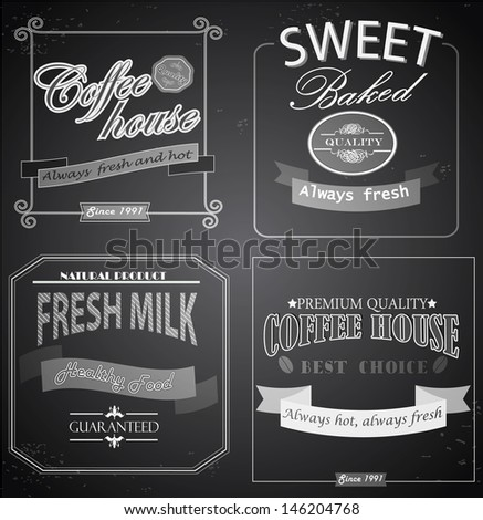 Set of retro label cards for vintage design, old paper textures and seamless patterns - stock vector