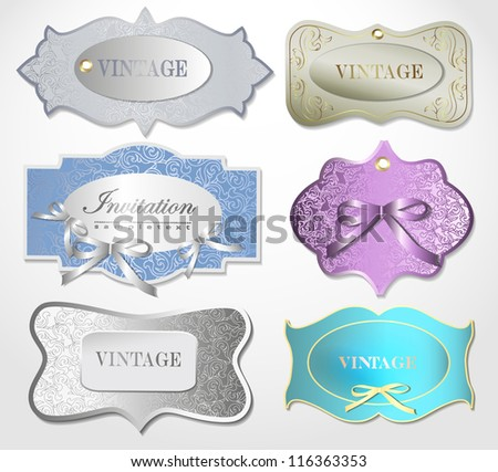 Set of retro labels/greeting card, with bow for design/Design template can be used banners, invitation, congratulation or website layout vector