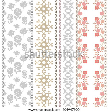 Set of retro lace borders with bohemian motifs. Hand drawn seamless roses and blooming cherry, geometric ornaments. Vintage textile collection. Golden, silver shadows on white.   - stock vector