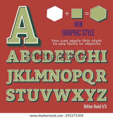 Set of retro letters and retro graphic style. You can apply this style to any fonts and objects, vector. EPS 10. - stock vector