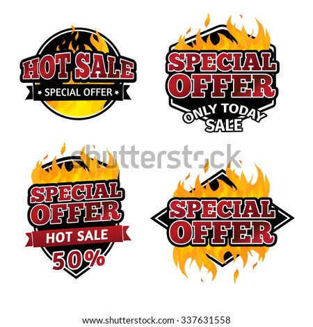 Set of retro logos, badges, buttons, icons, price tags for discounts, special offers, hot sale. The decor of the fire. Vector. - stock vector