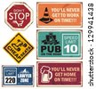 Set of retro metal signs. Creative collection of promotional vintage tin signs. Vector illustration of traffic signs with unique creative messages. - stock vector