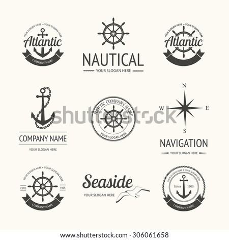 Set of retro nautical labels, badges and logo templates