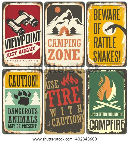 Set of retro outdoor camp signs and poster templates. Warning and info tin signs collection for camping site or national park on old scratched background. - stock vector