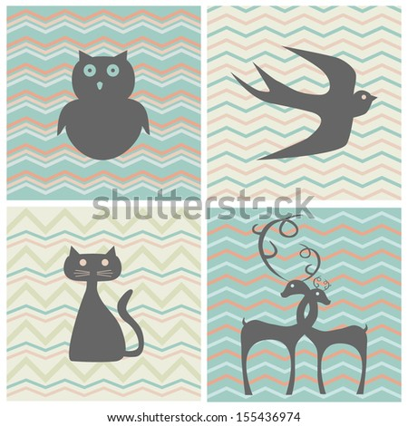 set of retro patterns with silhouettes of animals - stock vector