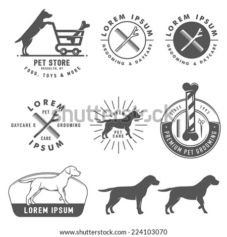 Set of retro pet care labels, badges and design elements - stock vector