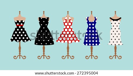 Set of 5 retro pinup cute woman dresses on a mannequin. Short and long elegant black, red, blue and white polka dot design lady dress collection. Vector art image illustration, isolated on background - stock vector
