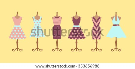 Set of 6 retro pinup cute woman dresses on a mannequin. Short and long elegant purple, pink and blue color polka dot design lady dress collection. Vector art image illustration, isolated on background - stock vector