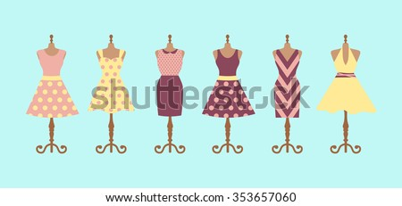 Set of 6 retro pinup cute woman dresses on a mannequin. Short and long elegant purple, pink and yellow polka dot design lady dress collection. Vector art image illustration isolated on blue background - stock vector