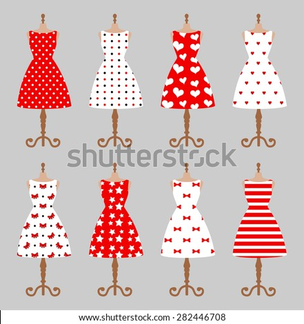 Set of 6 retro pinup cute woman dresses on a mannequin. Short elegant, red and white color polka dot design lady dress collection. Vector art image illustration, isolated on background - stock vector