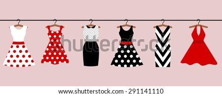 Set of 6 retro pinup woman dresses hanging on hangers. Short and long elegant black, red and white color polka dot design lady dress collection. Vector art image illustration, isolated on background - stock vector