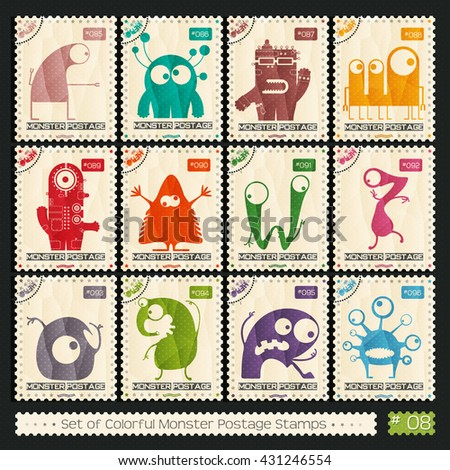 Set of retro postage`s stamp with funny color monsters. Cartoon illustration. Vector - stock vector