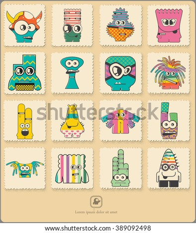 Set of retro postage`s stamp with funny color monsters. Cartoon illustration. Vector set.