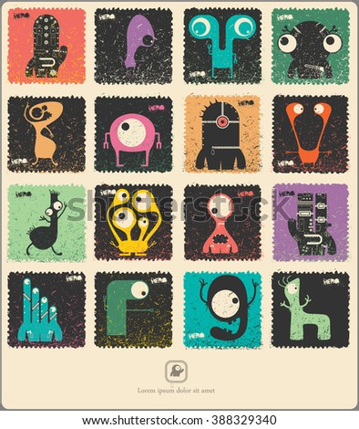 Set of retro postage`s stamp with funny monsters. Cartoon illustration. Vector set.