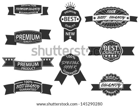 Set of 9 Retro Premium Quality Labels and Badges - stock vector