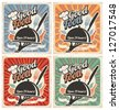 Set of retro restaurant posters. Vintage food vector backgrounds with chef hat,  plate,  fork and knife.  - stock vector