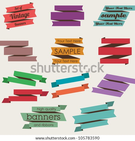 Set of Retro Ribbons and Banners - stock vector