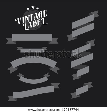 Set of retro ribbons and labels - stock vector