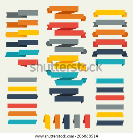 Set of retro ribbons and labels for design. - stock vector