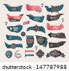 Set of Retro ribbons and labels ,Origami banners - stock