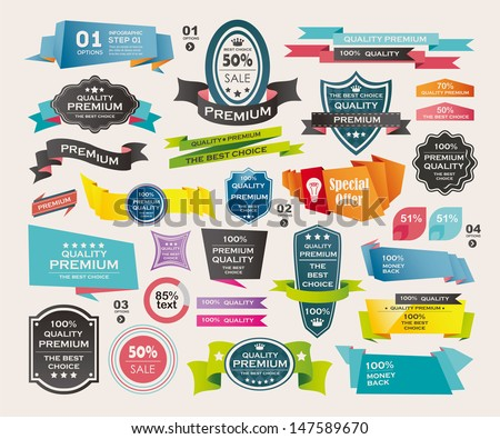 Set of Retro ribbons and labels ,Origami banners  - stock vector