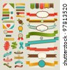 Set of retro ribbons and labels. Vector illustration. - stock photo