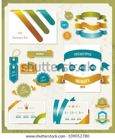 Set of retro ribbons and labels. Vector illustration - stock vector