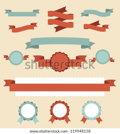 Set of retro ribbons and labels. Vector illustration. - stock vector