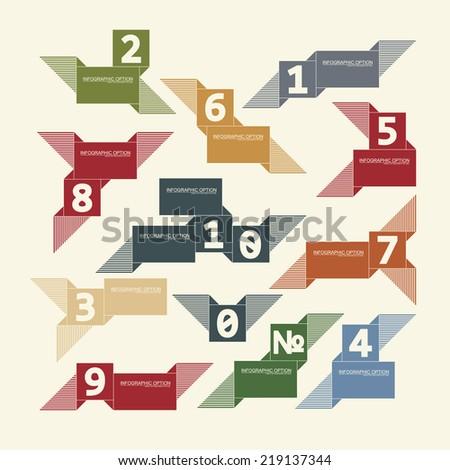 Set of retro ribbons, infographocs option, Vector illustrations - stock vector