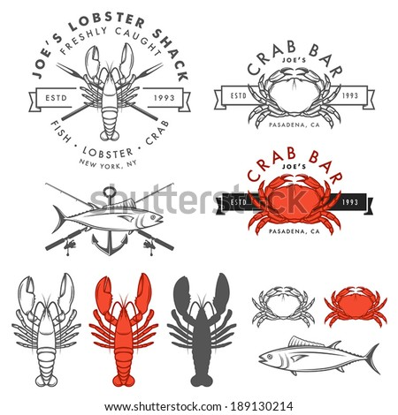 Set of retro seafood, crab, lobster, fish design elements. No transparency or gradient mesh used. - stock vector