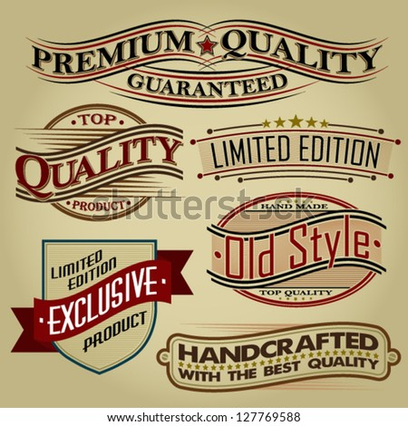 Set of Retro Seals, Labels and Calligraphic Designs - stock vector