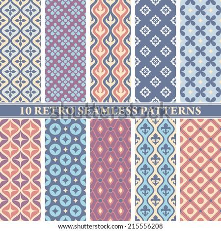 set of 10 retro seamless patterns vector illustration - stock vector