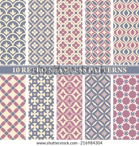 set of 10 retro seamless patterns vector illustration - stock vector