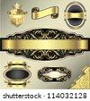 Set of retro shining golden ornamental frame label design - stock vector
