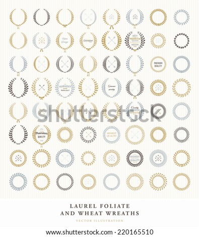 Set of Retro Silhouette Circular Laurel Foliate and Wheat Wreaths for Award Achievement Heraldry Nobility. Good for Guarantee and Quality Labels and Cards. Arrows, Bows and Vintage Labels - stock vector