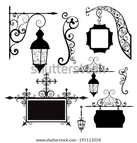 set of retro street lamps and signboards - stock vector