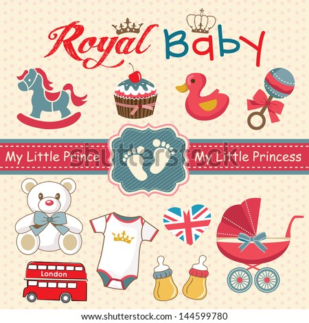 Set of retro style design elements for royal baby - stock vector