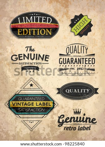 set of retro style labels - stock vector