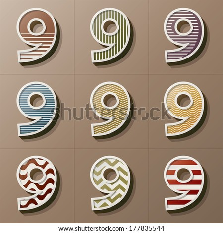 Set of Retro Style Number 9, Eps 10 Vector, Editable for Any Background, No Clipping Masks - stock vector