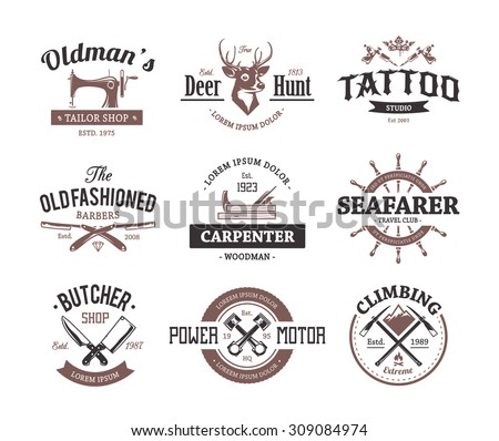 Set of retro styled emblems. Workshop logo templates. Different craft icons. Vector arts. - stock vector